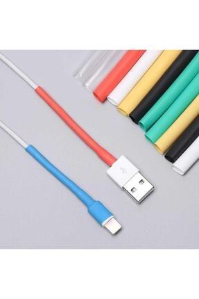 Mykablo Iphone Şarj Kablo Koruyucu Renkli 12 Adet Isıyla Daralan Makaron Orijinal Apple Lightning