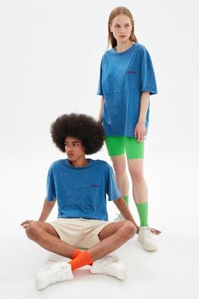 TRENDYOL MAN Indigo Unisex Oversize T-Shirt TMNSS21TS3350
