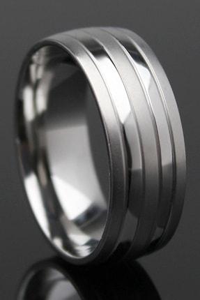 Gümüşbox Silver Çizgili Model Çelik Alyans