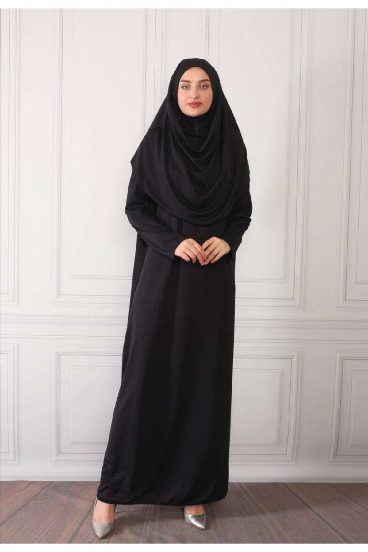 Renda Moda Kadın Siyah Tek Parça Boydan Giymeli Namaz Elbisesi 1