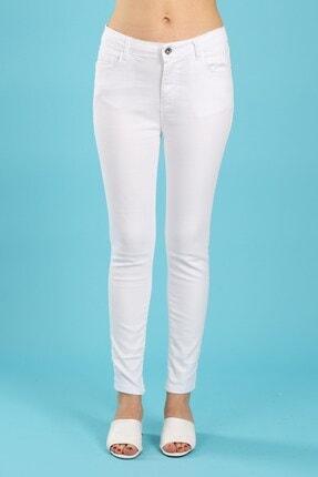 Arlin Kadın Yüksel Bel Likralı Dar Paça Beyaz Jean Pantolon