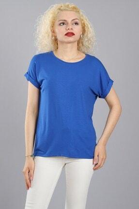 Arlin Kadın Bisiklet Yaka Kısa Kollu Tam Kalıp Saks T-shirt