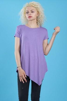Arlin Kadın Çarpraz Asimetrik Kesim Kısa Kollu Bisiklet Yaka Lila T-shirt