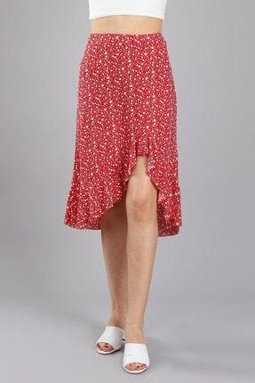 Arlin Kadın Önü Asimetrik Fırfırlı Beli Lastikli Kırmızı Minik Çiçek Etek