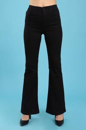 Arlin Kadın Ispanyol Paça Yüksel Bel Tam Kalıp Likralı Siyah Jean Pantolon