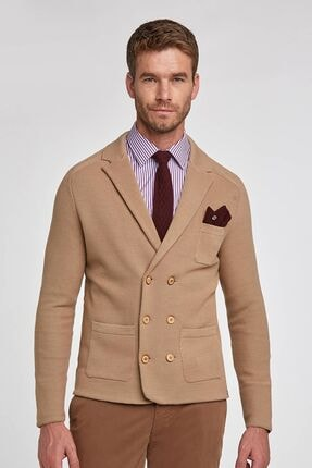 Hemington Erkek Camel Kruvaze Business Triko Ceket