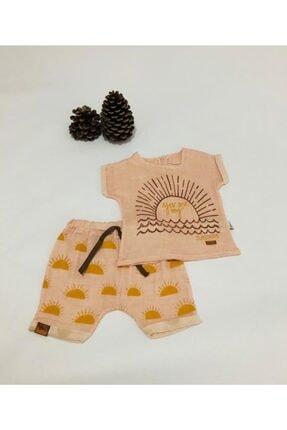 Flexi Kız Bebek Pembe Güneş Desenli İkili Müslin Takım