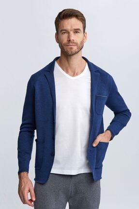 Hemington Erkek Asil Mavi Loungewear Triko Hırka