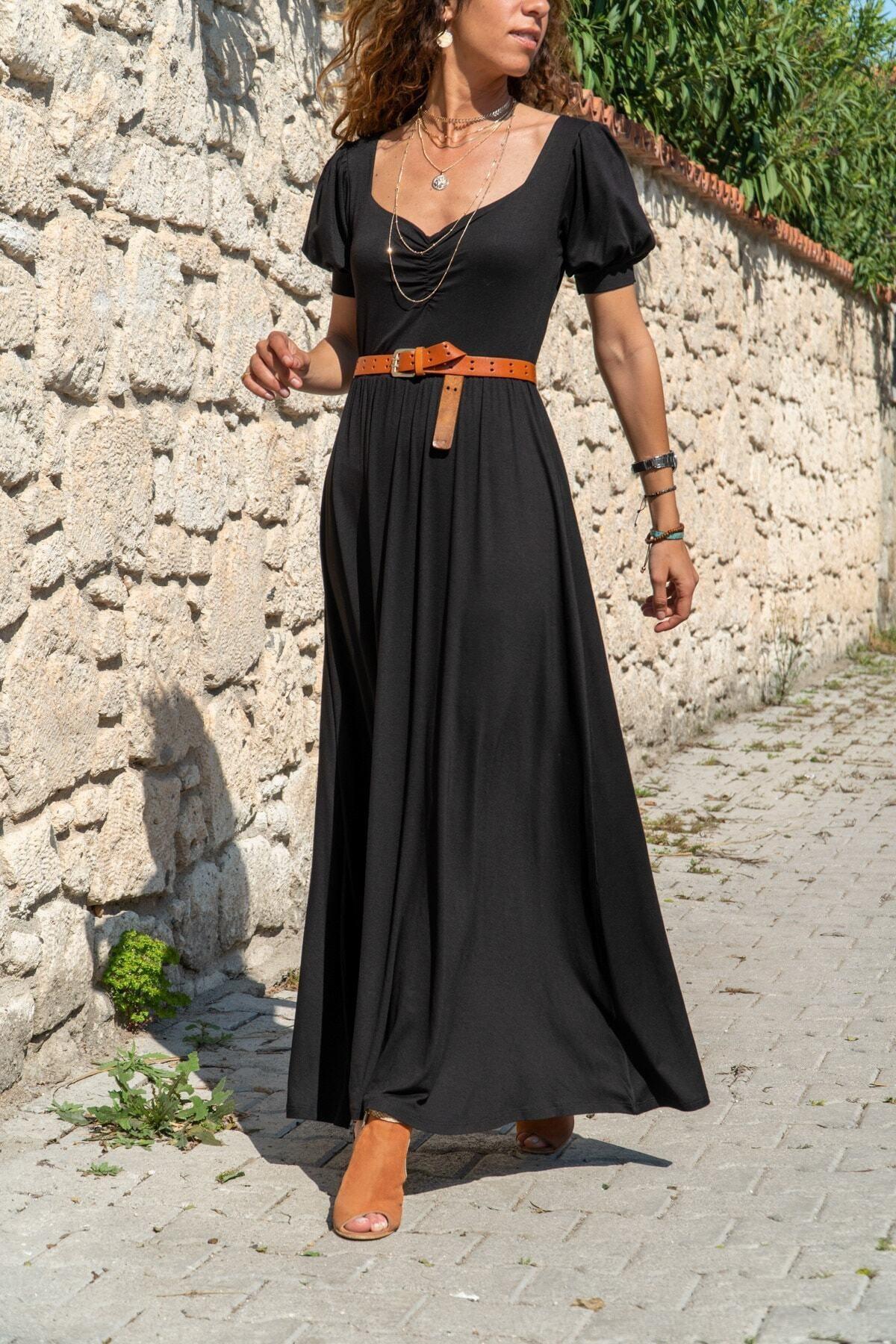 Güneşkızı Kadın Siyah Öpücük Yaka Uzun Kiloş Elbise 1