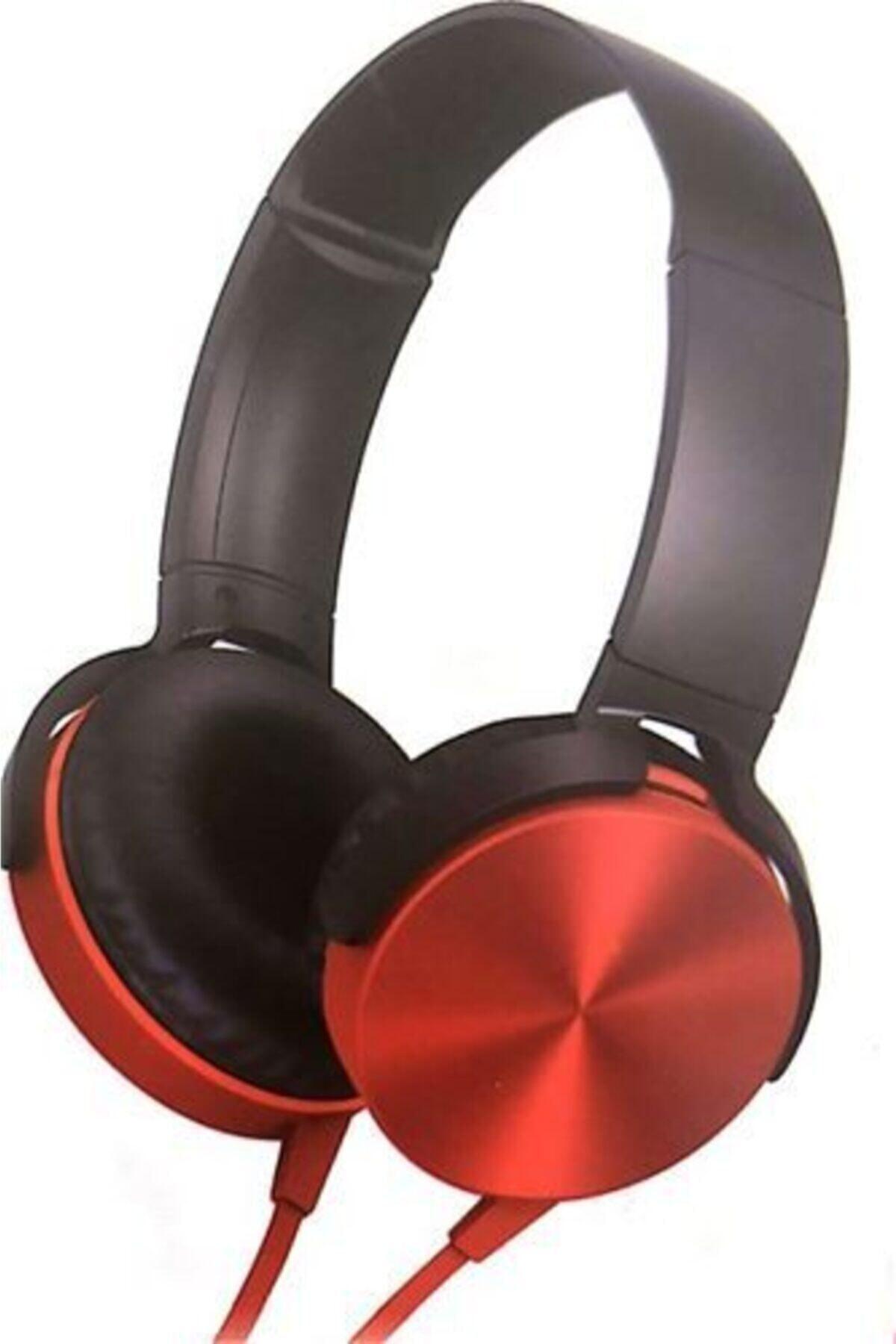OKMORE Kafa Üstü Telefon Oyun Kulaklığı Extra Bass Son Ses Kalite Stereo Kırmızı 1