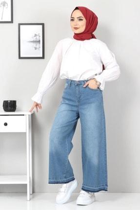 Tesettür Dünyası Kadın Bol Paça Püsküllü Kot Pantolon Tsd22050