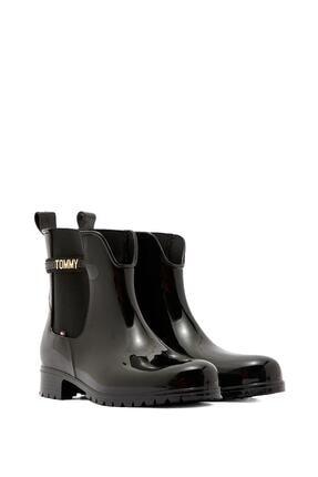 Tommy Hilfiger Kadın Block Branding Rainboot Kadın Yağmur Botu Fw0fw05202 Siyah