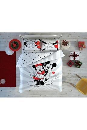 Taç Lisanslı Disney Sevgililer Günü Minnie Mickey Love Day Glow Çift Kişilik Nevresim Takımı