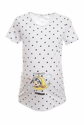 DeFacto Kadın Ekru Slim Fit Baskılı Hamile T-Shirt R2086az.20sp.er105