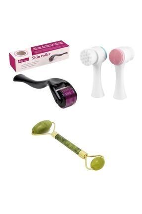 Lusso Cosmetics 0,5mm Dermaroller + Cilt Temizleme Fırçası + Yeşim Taşı