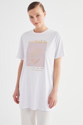 Trendyol Modest Beyaz Baskılı Örme Tunik-Tişört  TCTSS21TN0407