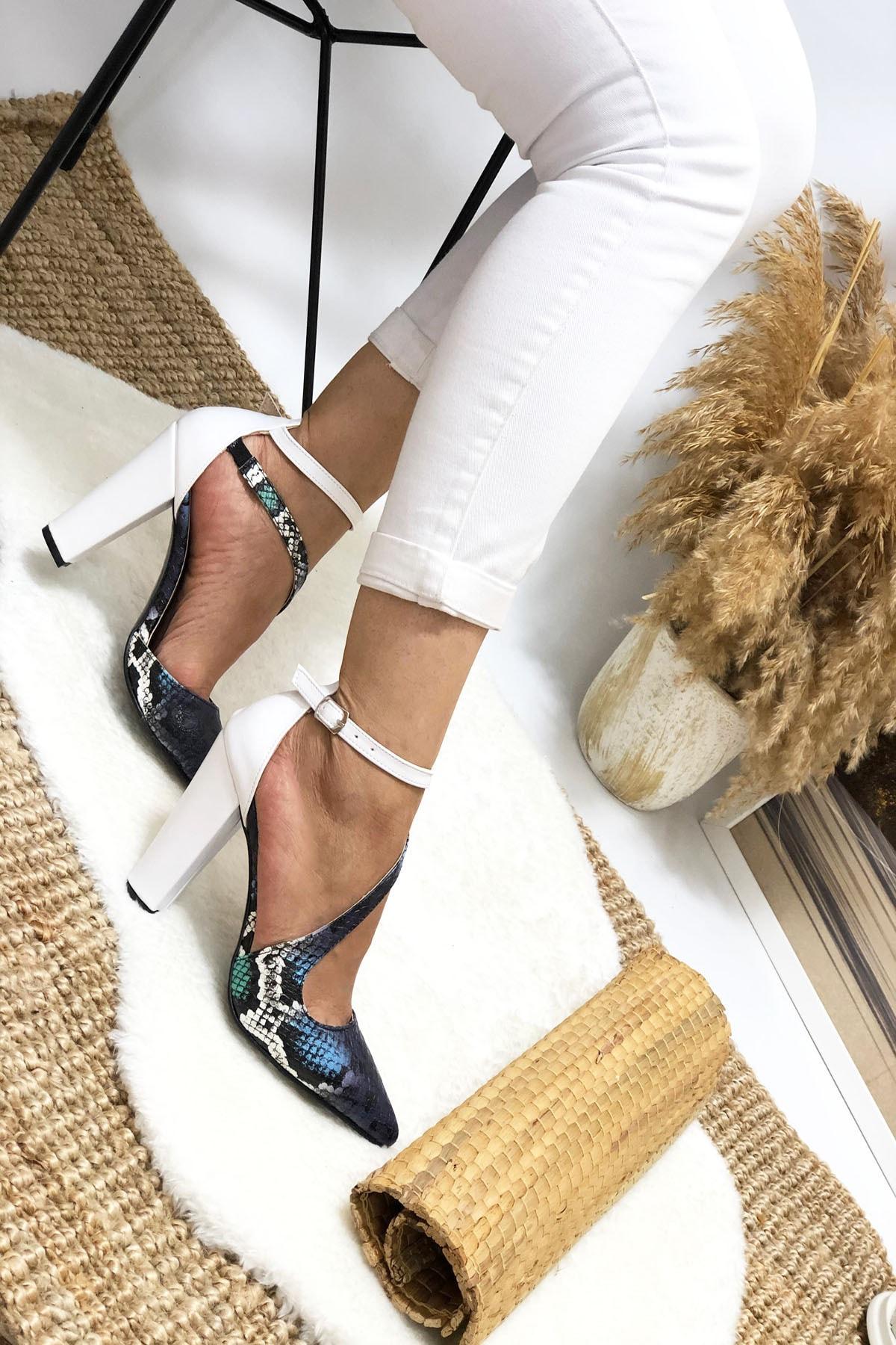 Leyla Yıldız Kadın Mavi Yılan Topuklu Ayakkabı 1