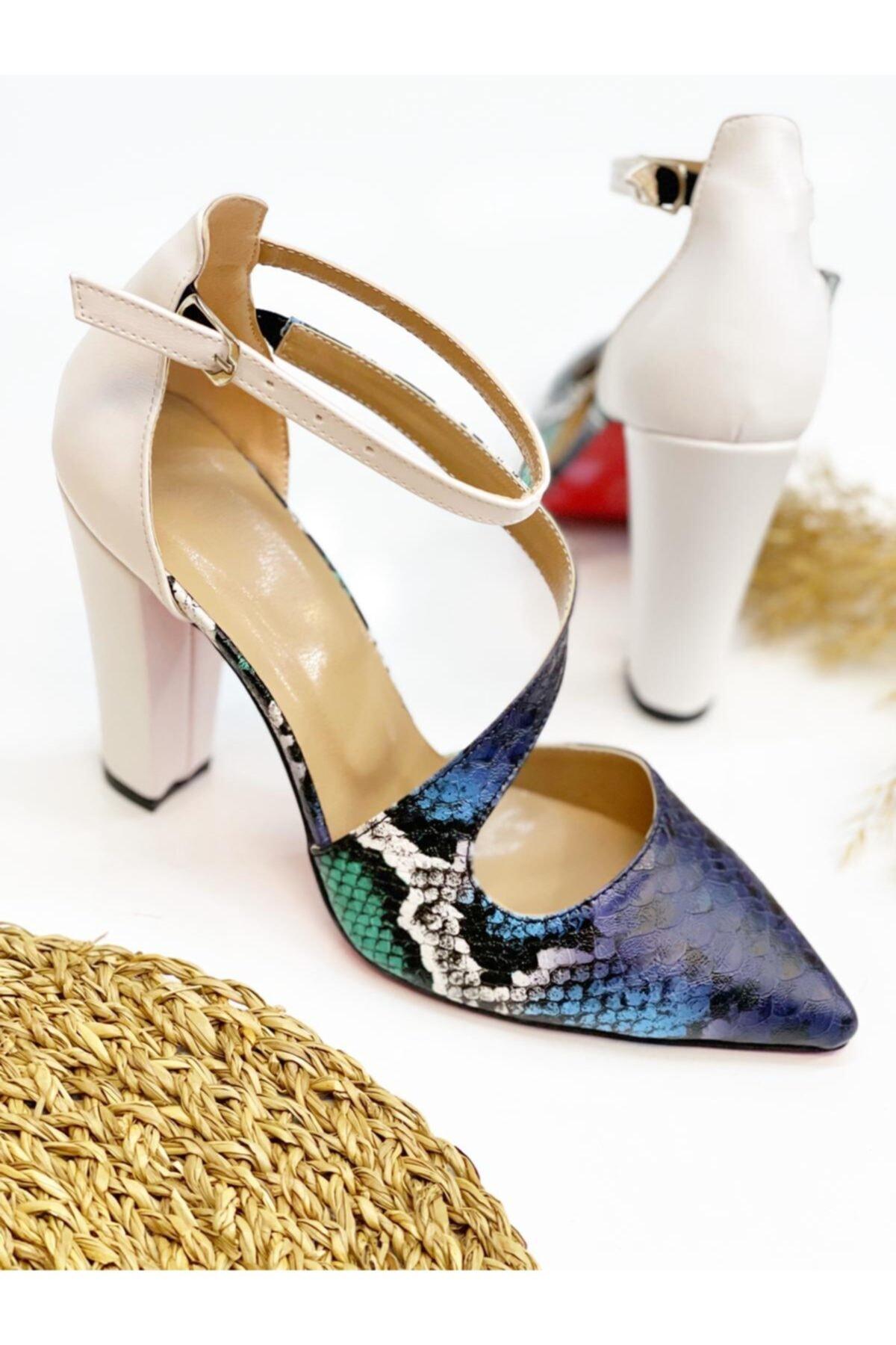 Leyla Yıldız Kadın Mavi Yılan Topuklu Ayakkabı 2