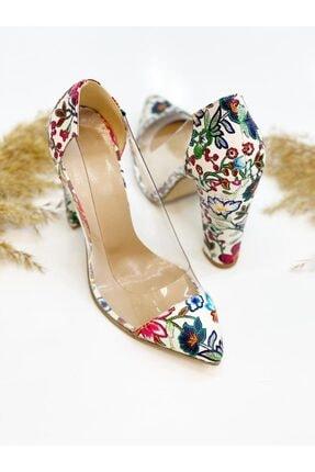 Leyla Yıldız Kadın Çiçek Desenli Topuklu Ayakkabı