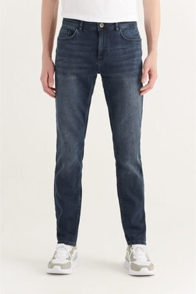 Avva Erkek Koyu Mavi Slim Fit Jean Pantolon A11y3522