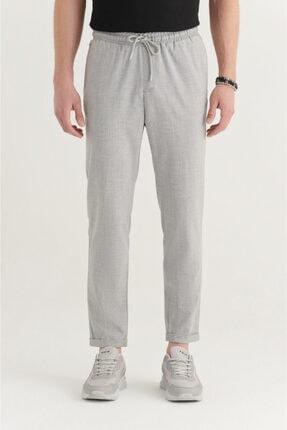 Avva Erkek Açık Gri Yandan Cepli Beli Lastikli Kordonlu Çizgili Relaxed Fit Pantolon E003001