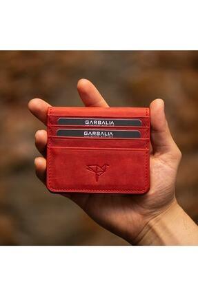 Garbalia Vintage Deri Kartlık & Para Portföy Kırmızı