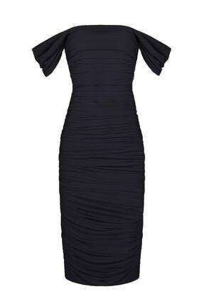by eymen design Kadın Siyah Düşük Kol Degajeli Drapeli Midi Elbise