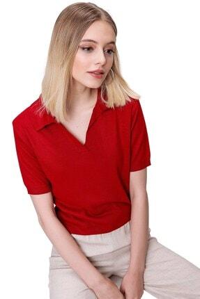 butikburuç Kadın Kırmızı Polo Yaka Triko Bluz