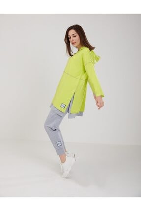 oia Neon Renk Pamuklu Tunik Pantolon Takım Eşofman Takım W-0900