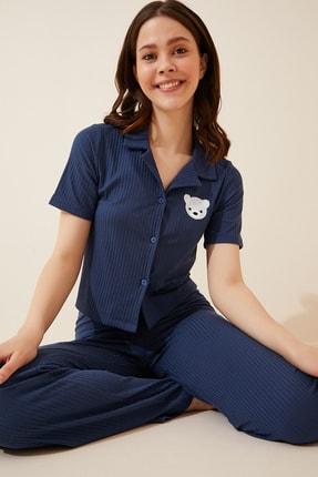 Happiness İst. Kadın Kobalt Mavi Armalı Fitilli Örme Pijama Takımı KH00065