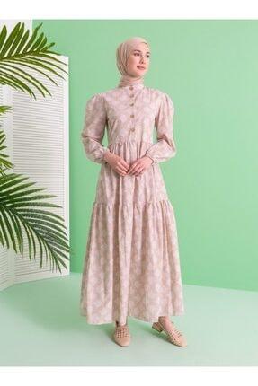 Loreen Kadın Bej Desenli Elbise