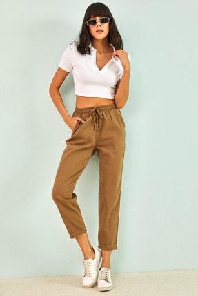 Bianco Lucci Kadın Camel Renkli Bağcıklı Beli Lastikli Gabardin Pantolon