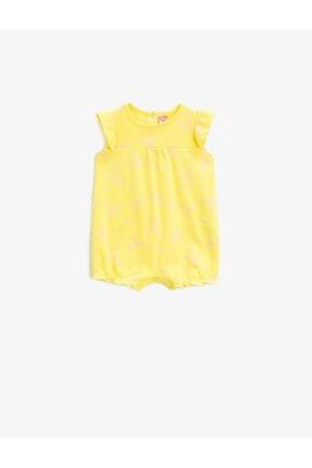 Koton Bebek Sarı Pamuklu Hayvan Desenli Tulum