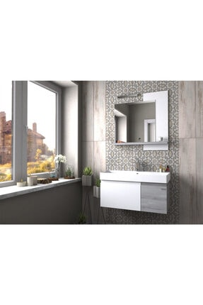 Pierre Cardin Mat Beyaz Pear Banyo Dolabı 85 cm