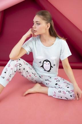 STRAWBERRY Kadın Mint Yeşili Pamuklu Baskılı Pijama Takım
