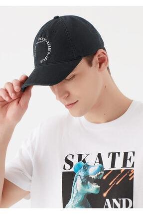 Mavi Yazı Baskılı Siyah Şapka