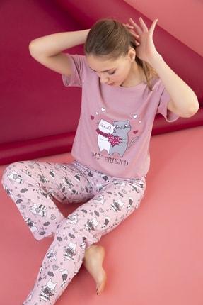 STRAWBERRY Kadın Somon Pamuklu Baskılı Pijama Takım