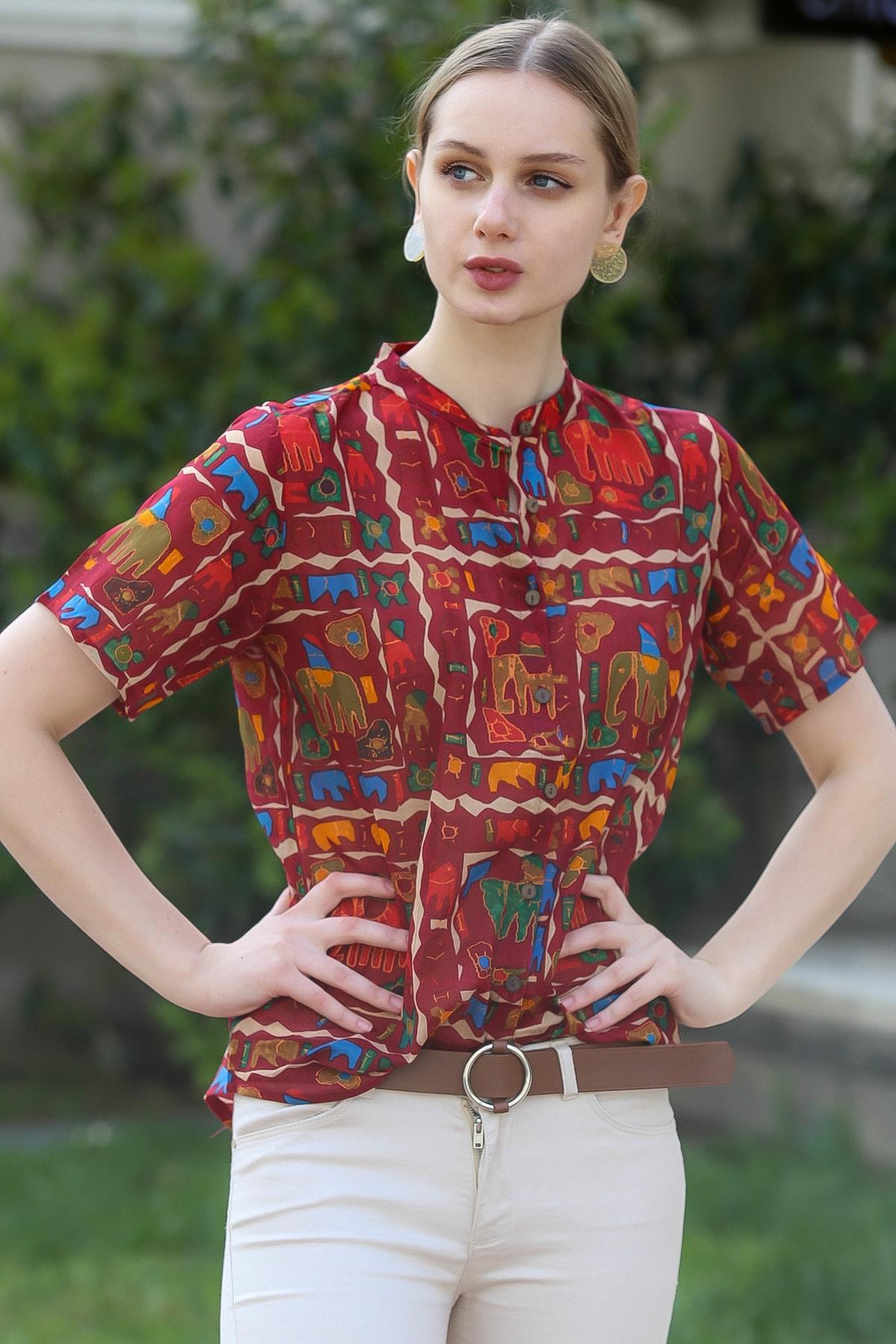 Chiccy Kadın Bordo Yakasız Düğme Detaylı Fil Desenli Dokuma Bluz M10010200BL95376