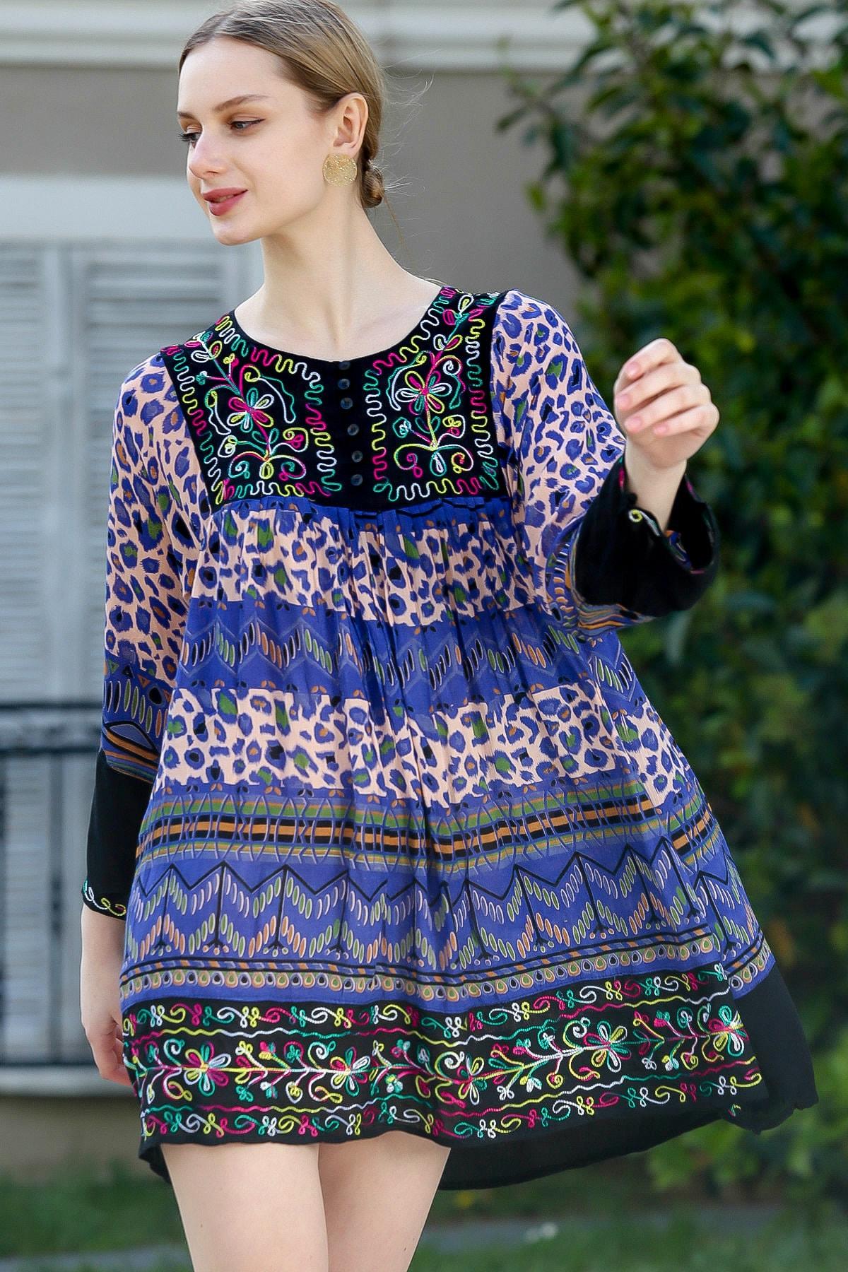 Chiccy Kadın Siyah-Mor Robası Nakışlı Süs Düğmeli Hint İşi Dokuma Tunik  M10010500TN99620