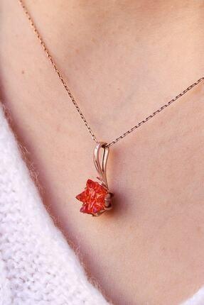 LOTUS GÜMÜŞ Turuncu Lotus Çiçeği 925 Ayar Gümüş Zincir Kadın Kolye