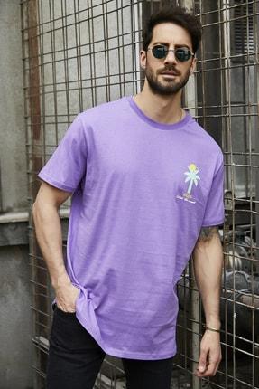 Sateen Men Erkek Mor Baskılı T-Shirt