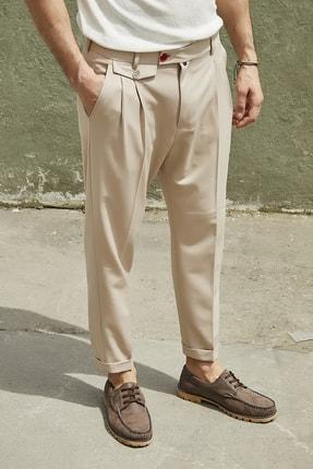 Sateen Men Erkek Bej Duble Paça Pileli Pantolon