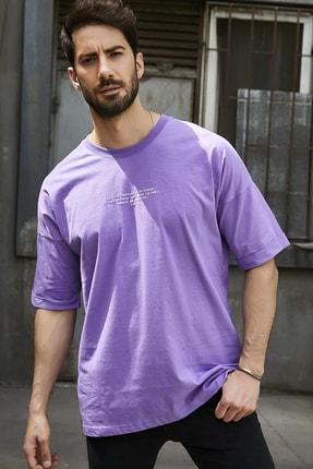 Sateen Men Erkek Mor Kabartma Yazı Baskılı T-Shirt