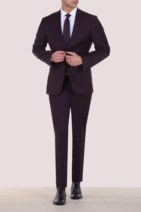 Kip Bordo Slim Fit Pilesiz Mono Yaka 6 Drop Takım Elbise
