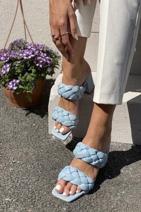 İnan Ayakkabı Kadın Mavi Önlü Arkalı Örgü Detaylı Terlik