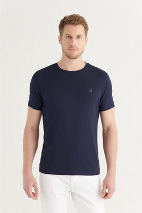Avva Erkek Lacivert Bisiklet Yaka Düz Sırt Biye Detaylı T-shirt A11y1172