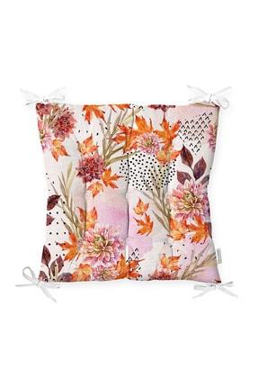 Realhomes Sonbahar Temalı Pembe Çiçek Desenli Özel Tasarım Modern Pofidik Sandalye Minderi