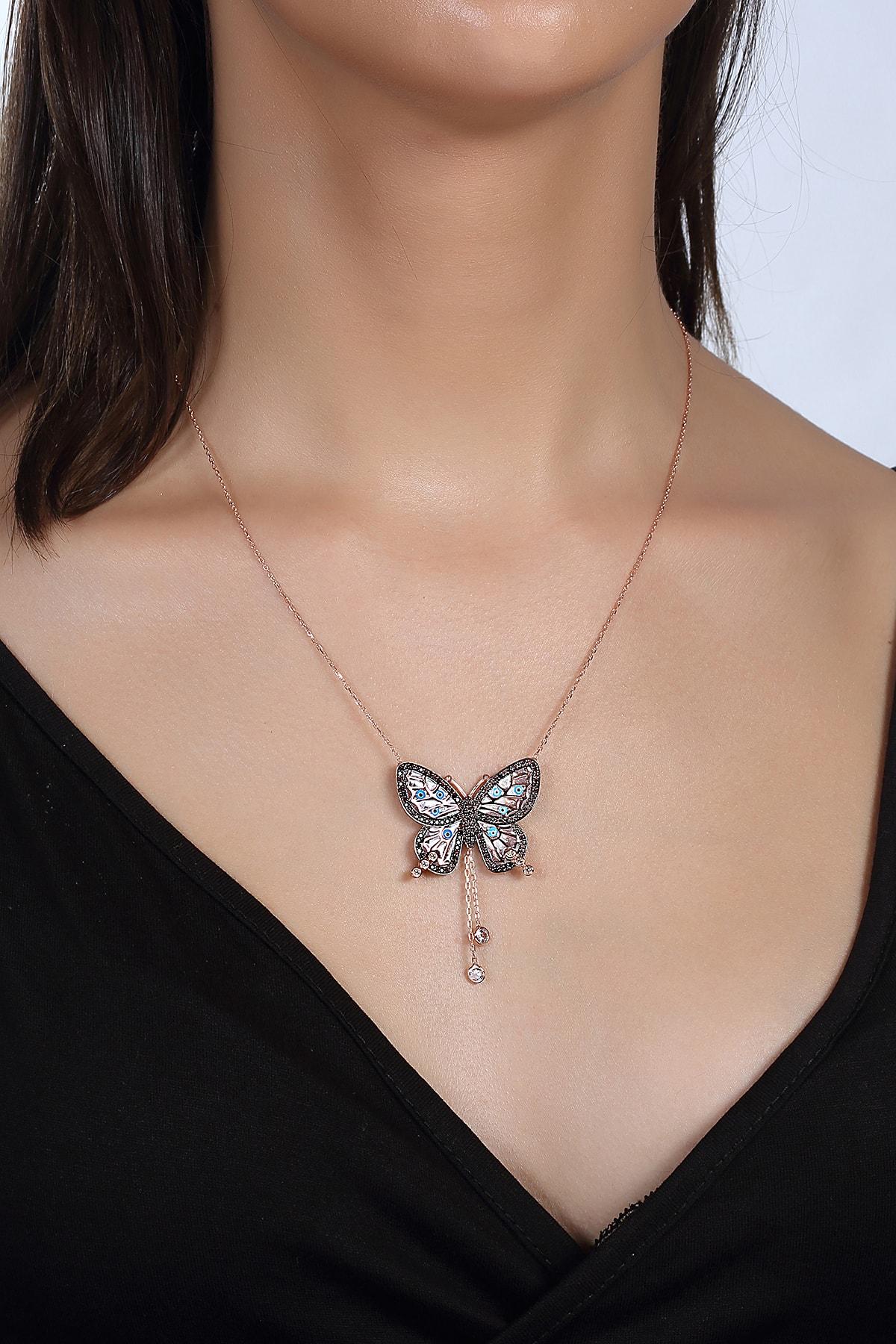 Gümüş Çarşısı Mineli Kelebek Kolye 1