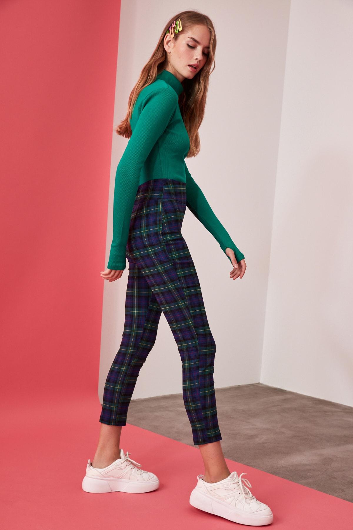TRENDYOLMİLLA Çok Renkli Yüksek Bel Skinny Pantolon TWOAW21PL0208 2