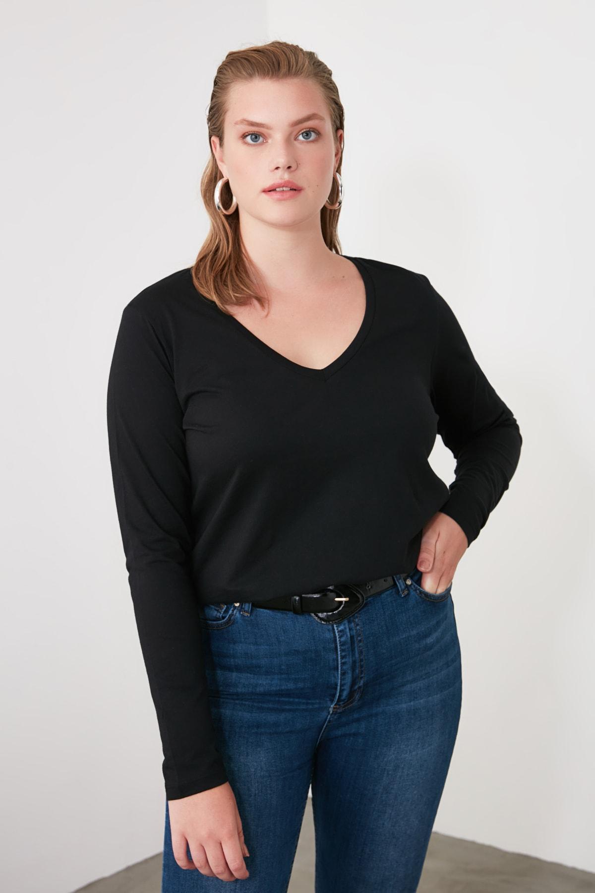 TRENDYOLMİLLA Siyah Uzun Kollu V Yaka Basic Örme T-Shirt TWOAW21TS0099 2